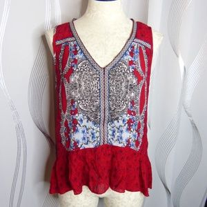 Patrons of Peace Red Boho Crinkle Shirt | Size M